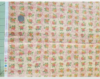 """Rows of Roses by Carla Miller 1 yard + 8"""", nellesdestash, beautiful soft cotton, pink, peach, green"""