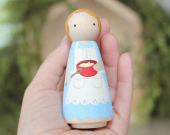 Whittle Friends - Olga the Baker - 3.5 inch Painted Peg Doll