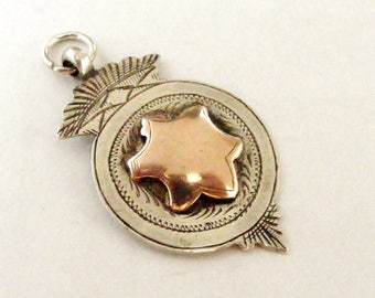 Art deco watch fob English sterling silver and rose gold watch fob for Albert chain 1928
