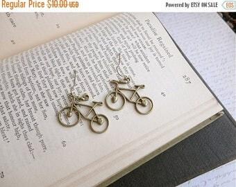 40% OFF SALE Antiqued brass adorable bicycle earrings, bike earrings, bike jewelry, Spokes, Gears, Handles, & Seats