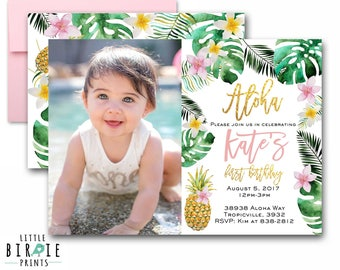 TROPICAL Birthday party invitation Gold Pineapple invitation Palm Pineapple Invitation Hawaiian Luau Birthday Invitation First Birthday