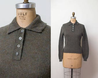 1960s Mohair Sweater / 60s Green Wool Pullover Sweater