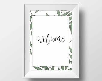 Welcome Home Decor Botanical Leaves pattern Green Mint Color Printable Digital Download