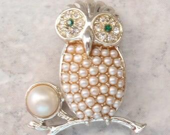 Night Owl Pin Brooch Sarah Cov Faux Pearls Rhinestones Figural Vintage 081215YV