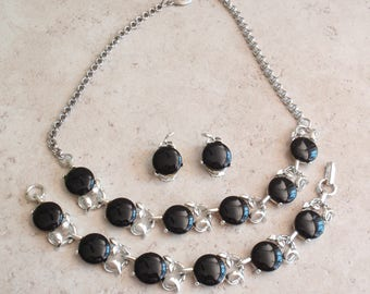 Black Thermoset Jewelry Set Clip On Floral Vintage 112014RC