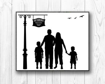 Custom Silhouette, Personalized Silhouette Christmas Gift Personalized Gift Family Silhouette made from YOUR Photos -Digital PRINTABLE JPEG