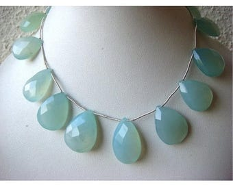ON SALE 55% Aqua Chalcedony - Chalcedony Briolettes - 18-22mm Pear Shaped Faceted Briolettes - 5 Pieces