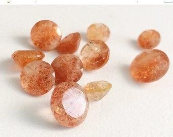 ON SALE 65% 8 Pieces, 8mm, Sunstone Round Solitaire Cut, Sunstone Faceted Gemstones,  Sunstone Solitaire Cut, Loose Gemstones, Sunstone