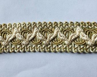 4 yard piece Flat Tape trim in greenish gold ivory