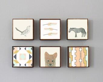 southwestern nursery art -horse coyote- choose 6 designs- gender neutral baby- boho childrens wall decor- nursery- redtilestudio