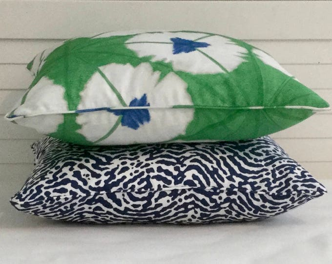 PAIR of Coordinating Thibaut Pillow Covers - One St Croix in Navy and White and One in Sunburst in Emerald, FREE SHIPPING