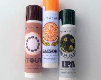 Craft Beer-flavored Lip Balms - beer lip balm trio - IPA lip balm, Stout lip balm and Saison - craft beer lip balms from Aromaholic