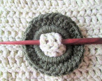 Shawl pin, crochet, hair accessory, shawl stick, dark green