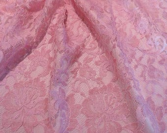 ON SALE Light Rose Floral Design French Chantilly Lace Fabric--One Yard