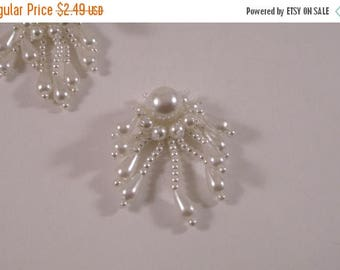 ON SALE Tiny Pearl White Fringed Beaded Applique--One Piece