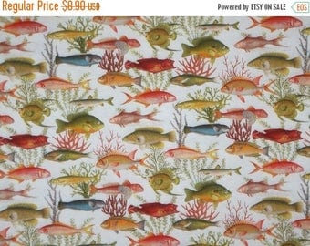 ON SALE REMNANT--Allover All Kinds of Fish Print Pure Cotton Fabric--1&5/8 YardS