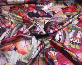Olive Green and Reds Artistic Cubist Digital Print Pure Silk Charmeuse Fabric--By the Yard