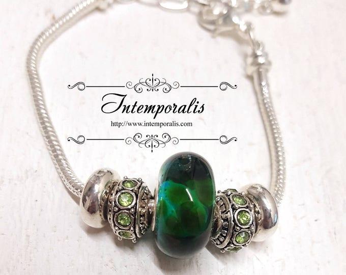 Green lampwork bead charm bracelet, european style bracelet , OOAK, SABRLW07