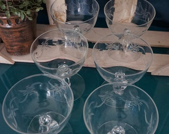 Set of 6 Etched Glass Sherbert Dishes
