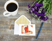 Notecards Set Watercolor/Tomato Sandwich/Cafe art/Fruit