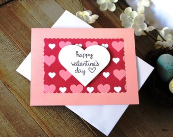 Handmade Valentine's Day Card, Pink White and Red Hearts, Happy Valentine's Day, Unique, One of a Kind, Free US Shipping