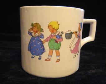 Keele Street Pottery childs nursery rhyme mug 1950s