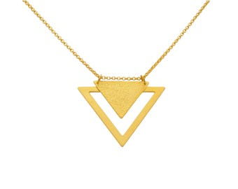 EMBLEME - Minimalist matte gold-plated long necklace with double triangle Arrow
