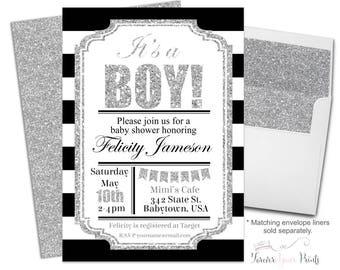 Baby Shower Invitation Boy - Boy Baby Shower Invite - Baby Boy Shower - Baby Boy Invitation - Baby Sprinkle Invite - Modern Shower Invite