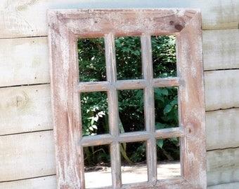 ON SALE ON Sale Rustic  Window Mirror~Shabby Chic Window Mirror~Shabby~Rustic Mirror~Old Famrhouse Style Mirror