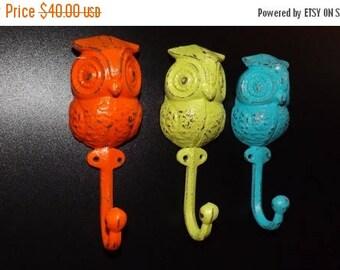 ON SALE Set of 3 Owl Hooks~Wall Storage~Whimsical Wall Hook~Nursery~Colorful Hooks~Owl