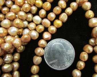 Freshwater Pearls 6-7mm potato pearl, Gold and Olive Green