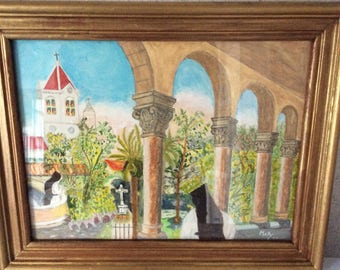 French Watercolor of The Abbaye de Notre Dame de Lérins, French Painting, Signed, French Décor, Wall Hanging, Vintage French Painting, Art