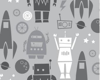 Boy Bedding, Rockets and Robots Crib Sheet, Gray Nursery, Changing Pad Cover, Minky Blanket, Personalized Blanket, Toddler Bedding