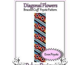 Bead Pattern Peyote(Bracelet Cuff)-Diagonal Flowers