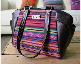 Annette Satchel bag - satchel bag - aztec purse - brown leather handbag - recycled leather - everyday tote bag - aztec sunbag - summer purse