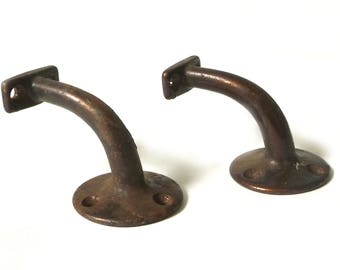 Pair Vintage Cast Iron Hand Rail Brackets ... Rustic Americana, Industrial Hardware, Home Improvement Parts, Railing Brackets, Stair Rail