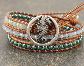 Seahorse Bracelet Silver Blue Green Seahorse Jewelry Bohemian Beach Chic Triple Leather Wrap Bracelet
