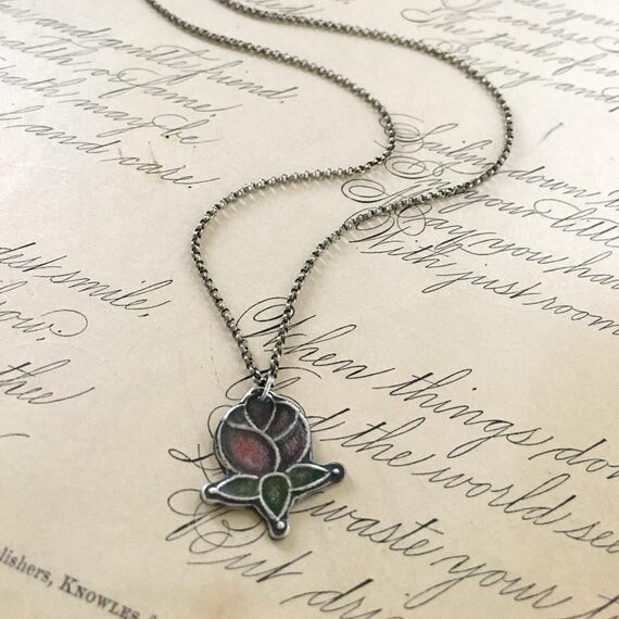Red Rose Necklace | Silver Rose Charm | Stained Glass Jewelry