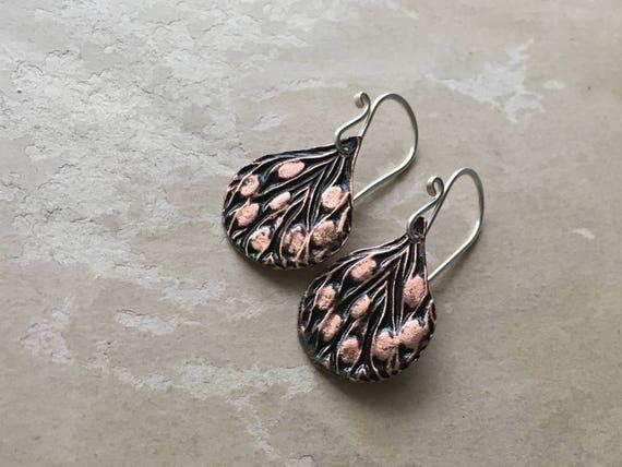 Peacock Feather Earrings   Lightweight Earrings   Pure Copper Jewelry