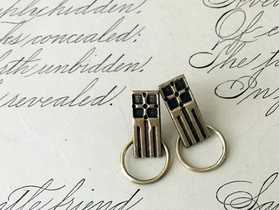 Bronze Earrings | Geometric Jewelry | Gold Art Deco Earrings