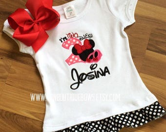 Red hot pink black mouse bow Personalized Boutique Number Birthday two 2nd flutter Girls Applique Short Long Sleeve Shirt Tank icing