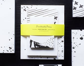 Notepad Set: Black & White Watercolor