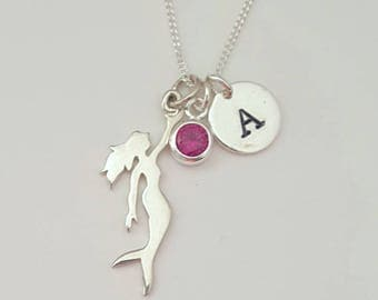 Sterling Silver Mermaid Necklace, Birthstone Necklace, Personalized Necklace, Birthday Gift, Kids Jewelry, Girls Necklace, Shipping from USA