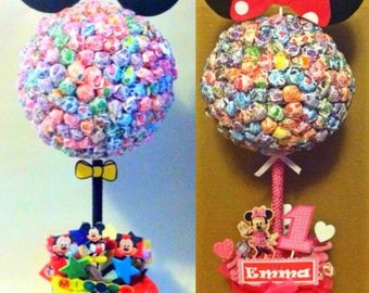 Set Of 2 Mickey U0026 Minnie Mouse Inspired Lollipop Tree (custom Made) Party  Candy