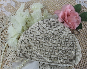 1930s Beaded Evening Purse Art Deco Clutch Formal Bag Prom Purse, Vanity Bag Change Purse, Business Card Case,Wedding Purse