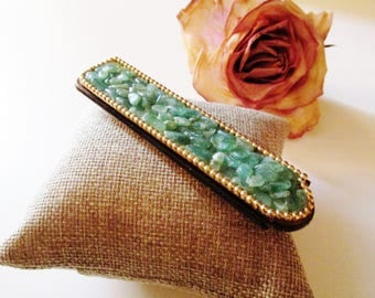 Vintage Folding Comb, Gemstone Pocket Comb, Hollywood Regency Jade Pocketbook Comb, Fancy Comb, Vintage Decorative Comb