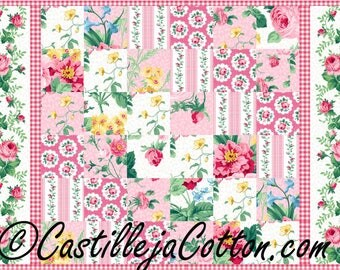 Floral Diagonal Squares Placemat Quilt ePattern, 4455-6, floral placemat, placemat quilt pattern, digital download, fat eighth friendly