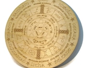 Wiccan Alter Plate Wheel of the Year Engraved wood calendar Goddess Zodiac wood Pagan calendar circle of life Wiccan gifts Pagan gifts
