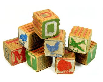 Eight Old Child's Wood Alphabet Blocks