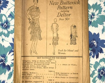 """Vintage New Butterick Deltor 1920s, C. 1921 Frock Dress Sewing Pattern 2566, Size Age 17, Bust 34"""",  Factory Folds Excellent Condition"""